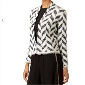 August Silk White Black Fuzzy Cardigan Jacket